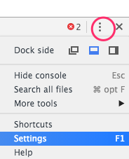 Entering DevTools settings from the dropdown