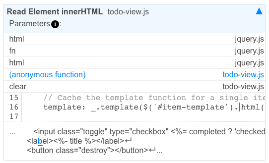 Full call stack and code inside todo-view.js