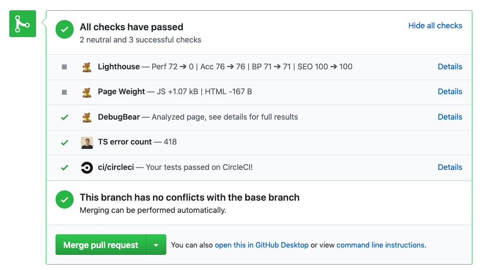 Reporting build metrics to Github