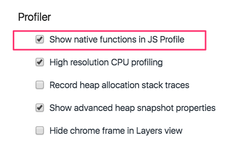 Chrome DevTools Profiler settings