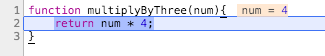 After calling multiplyByThree the values is 16 instead of the expected 12.