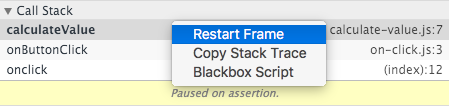 Restart Frame feature in call stack pane